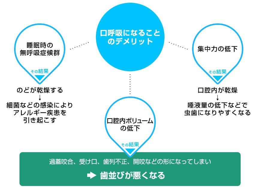 口呼吸→口呼吸のデメリット→のどが乾燥する→口腔が乾燥する→姿勢が悪くなる→歯並びが悪くなる